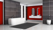 Red And Black Bathroom Interior