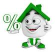 Kleines 3D Haus Grün - Prozent Symbol