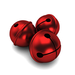 3d render of a red shiny sleigh bells