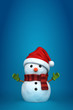 3d render of a snowman wearing santa hat and gloves in blue back
