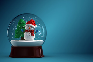 3d render of a snow globe with snowman in blue background