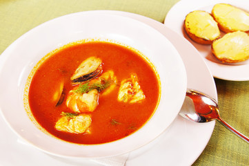 Bouillabaisse - Tomato soup with seafoods