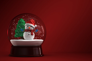 3d render of a snow globe with snowman in red background