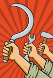 Raised Fists Holding Tools in Soviet Propaganda Style poster