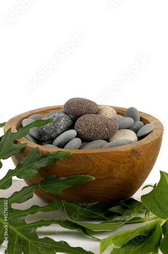 Wooden bowl stone with green leaf