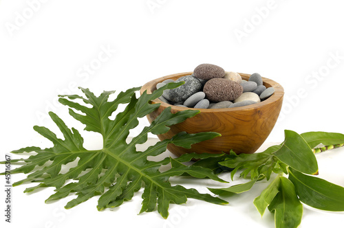 Wooden bowl stones with green leaf