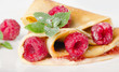 Crepes with raspberries