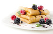 Crepes with blackberries and raspberries
