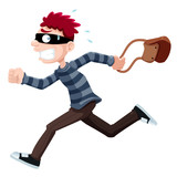 illustration of Thief running with bag