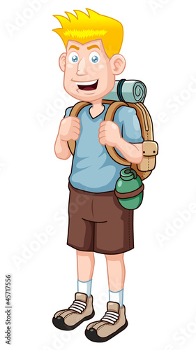 illustration of Cartoon Tourist Vector version