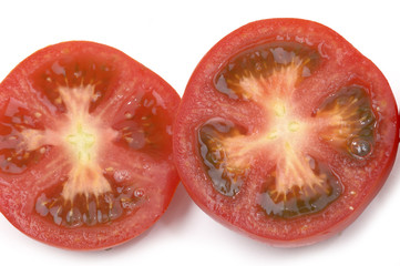 nice fresh sliced tomato with clipping path
