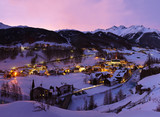 Fototapety Mountains ski resort Solden Austria at sunset