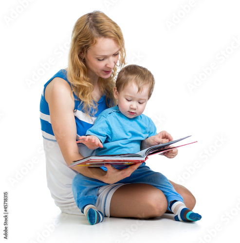 cute happy kid reading a book