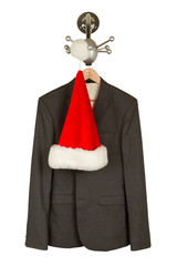 Business suit with a santa hat