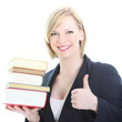 Smiling blonde woman with bunch of books