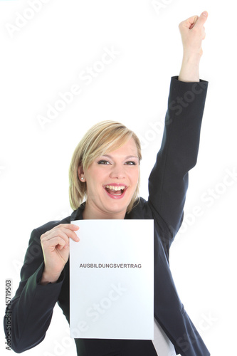 Ecstatic young woman with page of paper
