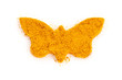 Heap ground Curry (Madras Curry) isolated in butterfly shape on