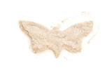 Heap ground White Pepper isolated in butterfly shape on white ba