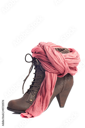 woman heel boots, brown leather, and salmon colored foulard