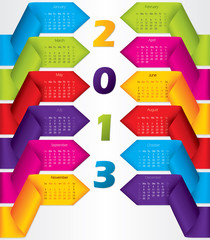 Colorful ribbon calendar design for 2013