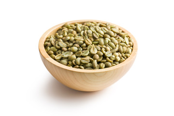 green coffee in wooden bowl