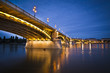 Margaret bridge over the Danube at dusk in Budapest, Hungary