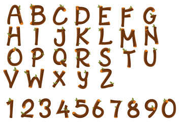 English alphabet and numbers