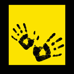 Abstract hand print on a yellow background