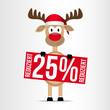Rentier / Schild / 25% Reduziert - Weihnachten