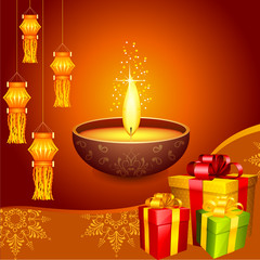 vector illustration of colorful diwali hanging lantern with gift