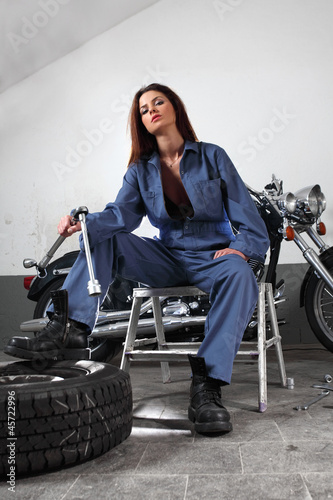 Sexy motorcycle mechanic