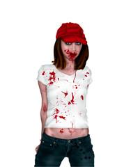 Zombie adolescente sobre fondo blanco