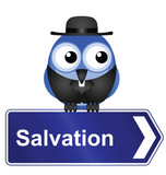 Salvation sign with clergyman poster