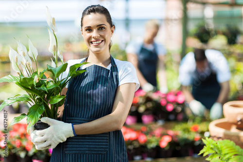 happy female nursery owner with pot of flowers inside greenhouse - 45724157