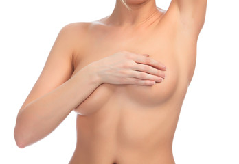Cropped image of a female controlling breast for cancer