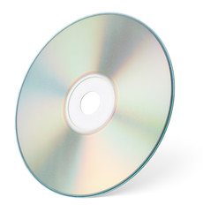 CD or DVD isolated on white with clipping path