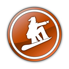 "Orange Glossy Button ""Snowboarding"""