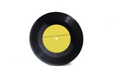 New yellow empty gramophone vinyl record