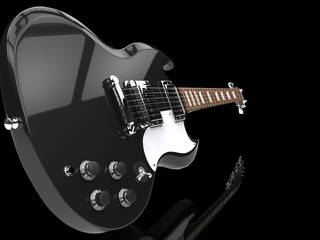 Solid Guitar Black Close Up