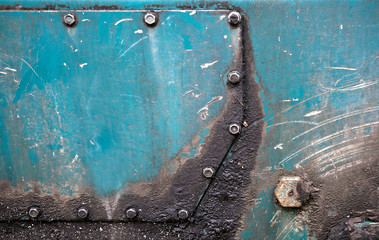 Abstract detailed green metal panel industrial background