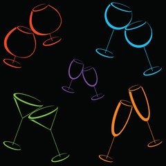 Seamless background with colorful glasses of alcohol drinks