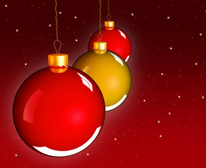 Christmas baubles balls in golden red