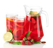sangria in jar and glasses with fruits, isolated on white