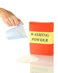 woman's hand pours out of washing powder measuring cup,