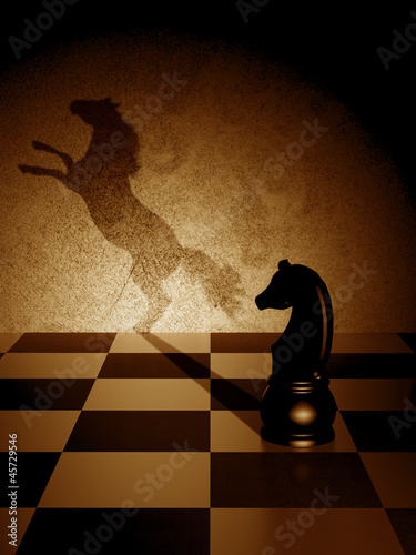 Black knight with an art shadow as a wild horse