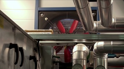 The ventilation system in the factory. Big air fan.