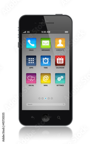 Modern smartphone with application icons