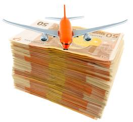 concept transport aérien, avion sur liasse de billets