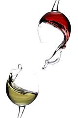 Splashing wine on a white background