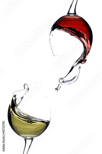 Splashing wine on a white background